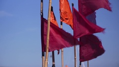 Red flags in the harbor Stock Footage