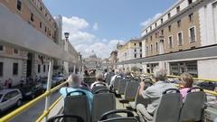 Open Top Bus Tour of Rome, Rome, Lazio, Italy, Europe Stock Footage