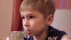 Child boy with inhaler Stock Footage