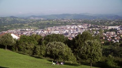 View on a Spanish city with buildings, trees and nice weather Stock Footage