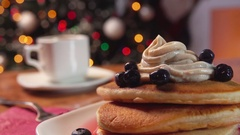 Panoramma on a stack of pancakes and a cup of hot coffee Stock Footage