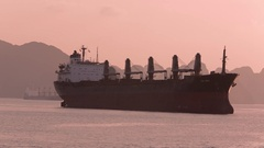 WS Container ship in bay / Ha Long Bay, Vietnam Stock Footage