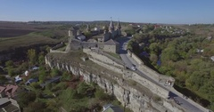 Aerial camera flies back from Kamianets-Podilsk castle Stock Footage