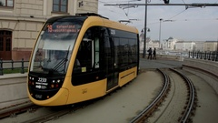 BUDAPEST - tram in daily traffic on embankment danube river Stock Footage