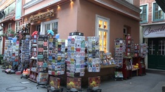 4k Antique souvenir shop building in city Bremen famous streets area Schnoor Stock Footage