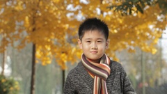 MS Portrait of boy wearing scarf, smiling at camera in park / China Stock Footage