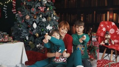 Family Having Fun with Christmas Petards Stock Footage