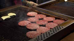 Big, lush, delicious cutlets to fried burgers on the pan close-up Stock Footage