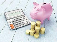 Piggy bank with money and calculator. Stock Illustration