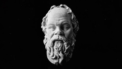 Socrates Sculpture Rotate Slow on a Black Background Stock Footage