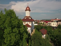 Aerial drone view of a countryside Church Stock Footage
