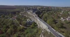 Aerial camera flies towards Kamianets-Podilsk castle Stock Footage