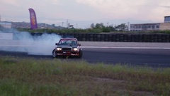 Mercedes Benz W201 drifting on track Stock Footage