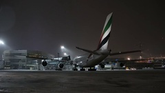 Airline Emirates A380. Airbus is parked at the Domodedovo airport. Stock Footage
