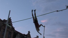 A male Athlete Competes In Pole Vaulting. Stock Footage