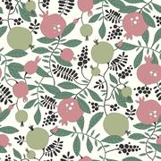 Seamless pattern of pomegranate and apple tree Stock Illustration