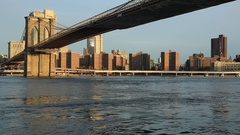 View to Manhattan from Brooklyn Bridge Park Stock Footage
