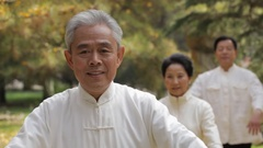 MS PAN SELECTIVE FOCUS Elderly people doing Tai Chi in park / China Stock Footage