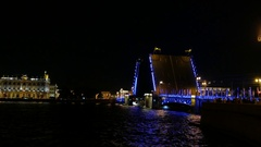 Dvortsoviy Most wings in vertical position during night Neva river navigation Stock Footage