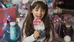Kid Girl with Candy Stock Footage