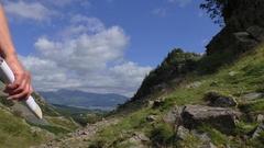 Woman hiking in Lake District Stock Footage