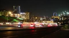 Heydar Aliyev Avenue. Multi-level road junction with heavy car traffic Stock Footage