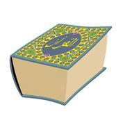 Quran Islamic holy book isolated. Koran Big Muslim volume oriental pattern Stock Illustration
