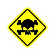 Danger Poison sign yellow. Attention toxic hazard. Warning sign acid pollutio Stock Illustration
