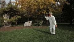 WS TU HA Mature man doing Tai Chi in park / China Stock Footage