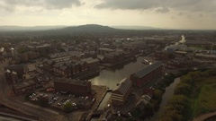 Gloucester and city landscape high view Stock Footage