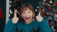 Portrait of Kid Girl Showing Thumbs Up Stock Footage