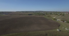 Aerial camera flies fast back from a monument Kamianets-Podilski Stock Footage