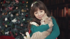 Portrait of Kid Girl with Cat Stock Footage