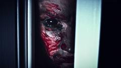 4K Horror Bloody Scary Woman Eye Looking in Door Hole Stock Footage