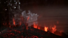 Beautiful artificial fireplace Stock Footage