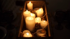 Lots of candles lit for Christmas-2 Stock Footage