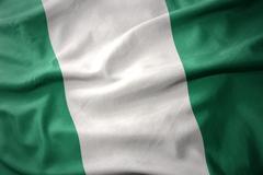 Waving colorful flag of nigeria. Kuvituskuvat