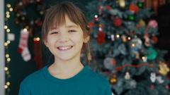 Portrait of Kid Girl Before Christmas Tree Arkistovideo