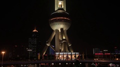 MS The Oriental Pearl Tower at night / Shanghai, China Stock Footage