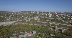 Camera flies towards the Old Town of Kamianets-Podilski Stock Footage