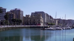 Cityscape at the seeside in Spain Stock Footage