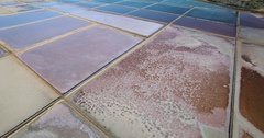Aerial view above a salt mine Stock Footage