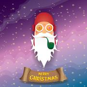Vector rock n roll cartoon funky santa claus icon Stock Illustration