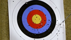 One arrow hits the target but one misses it Stock Footage