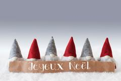 Gnomes, Green Background, Joyeux Noel Means Merry Christmas Stock Photos