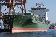 Green Cargo Container Ship at Dock Kuvituskuvat