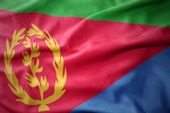 Waving colorful flag of eritrea. Stock Photos