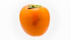 Orange mature kaki suspended in the air rotates in loop  Stock Footage