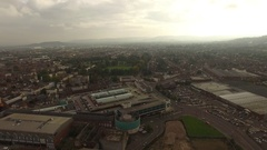 Gloucester aerial panorama with city landscape. Stock Footage