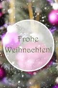 Vertical Rose Quartz Balls, Frohe Weihnachten Means Merry Christmas Kuvituskuvat
